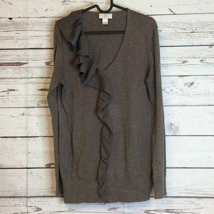 LOFT V neck ruffle sash Pima cotton brown sweater